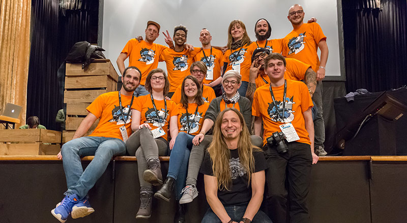 Volunteers at the beyond Tellerrand Munich 2018. Photo by Martin Kraft.