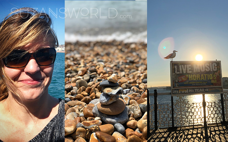 A collage of 3 photos: myself, a tiny stone tower at the beach and the Brighton pier at sunset